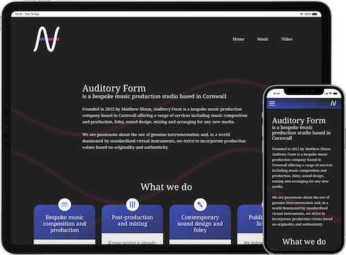 Auditory Form website on iPad Pro and iPhone 12