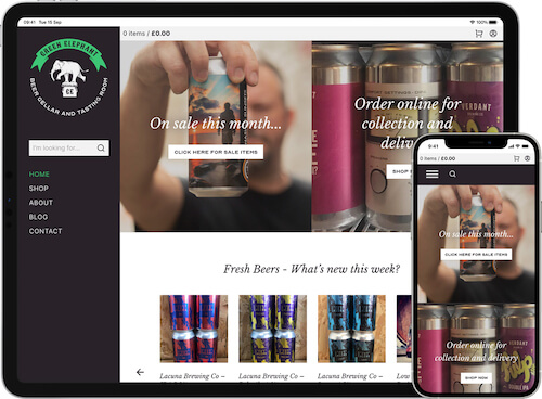 Green Elephant Beer Cellar website on iPad Pro and iPhone 12