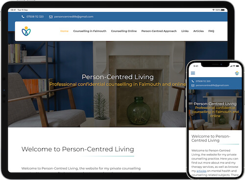 Person-Centred Living website on iPad Pro and iPhone 12